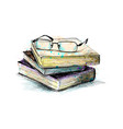 eyeglasses on top stack books from a splash of vector image vector image