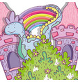 fantastic dragn creature with castle and rainbow vector image vector image
