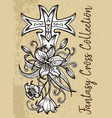 fantasy cross with flower vector image vector image