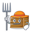 farmer crate character cartoon style vector image vector image