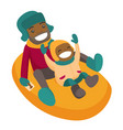 father with son sledding down on snow rubber tube vector image