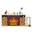 fireplace icon isolated comfortable cozy warm vector image