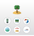 flat icon beach set of boat sphere ocean and vector image vector image