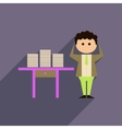 Flat web icon with long shadow office worker vector image vector image