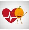fruit cartoon heart healthy icon vector image