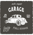 garage retro poster black color vector image vector image