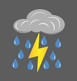 gray cloud with lightning and rain icon vector image