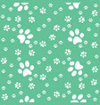 green seamless paws pattern background vector image vector image
