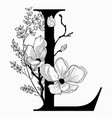 hand drawn floral l monogram and logo vector image vector image
