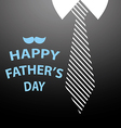 happy fathers day card on tie and black shirt vector image vector image