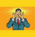 happy man retro pop art vintage vector image vector image