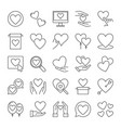 hearts and love concept icons set in outline style vector image vector image
