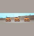 heavy yellow dumper trucks professional equipment vector image vector image