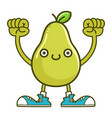 kawaii smiling pear fruit with sneakers cartoon vector image