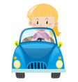 little girl driving in blue car vector image