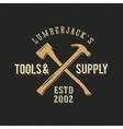 Lumberjack Tools and Supply Abstract Vintage Label vector image vector image