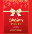 merry christmas party and gold ribbon on red vector image vector image