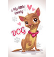 my little lovely dog cute cartoon sitting vector image