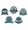 Nautical themed emblems and badges vector image