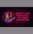 neon open air sign with microphone electro guitar vector image