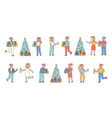new year celebration flat line people character vector image vector image