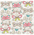 pattern of hand draw butterflies vector image vector image