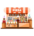 pizza house interior with italian pizzaiolo vector image