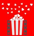 popcorn popping film strip line pop corn box vector image vector image