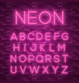 realistic neon alphabet bright neon glowing font vector image vector image