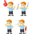 Red Head Boy Customizable Mascot 19 vector image vector image