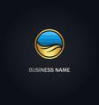 round ocean wave gold logo vector image vector image