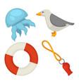 sea themed small set isolated cartoon vector image
