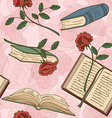 Seamless pattern of books and flowers vector image vector image