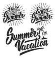 set of summer emblems design elements for vector image vector image