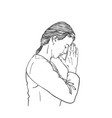 sketch woman praying with hands folded vector image