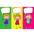 Speech bubble design with three girls vector image vector image
