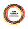 tire track circle frame background vector image vector image