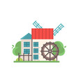 traditional rural water mill ecological vector image vector image
