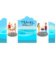 travel agency banner flat design idea vector image