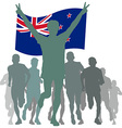 Winner with the New Zealand flag at the finish vector image vector image
