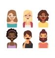 Woman emoji face icons vector image vector image