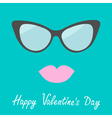 Womens glasses and lips Happy Valentines Day card vector image vector image