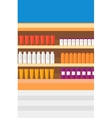 Background of shelves in supermarket with toiletry vector image vector image
