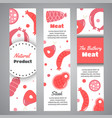 background with meat products flat meat farm vector image vector image