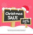 banner square christmas sale with snowy board vector image vector image
