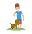 Boy and dog isolated on white background vector image vector image