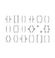 brackets line typography graphic symbols brace vector image vector image