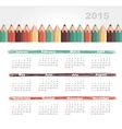 Calendar 2015 year with colored pencils vector image vector image