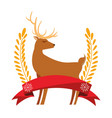 christmas deer leaves ribbon decoration vector image vector image