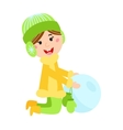 Christmas kid playing winter games vector image vector image